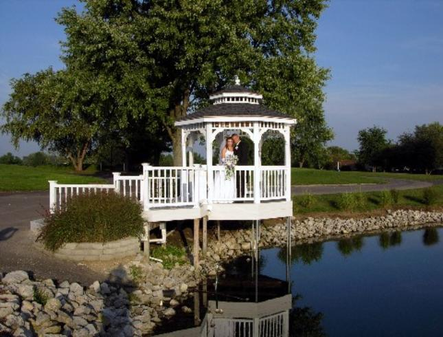 Gazebo at pond at Valle Vista BanquetHall  Photo from American Wedding Photography  All rights reserved